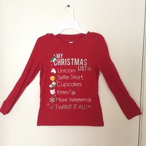 Red Christmas Shirt Size 10-12 For Girls🎄